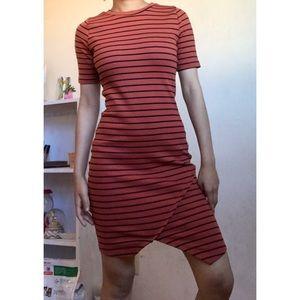 Burnt orange bodycon black striped dress